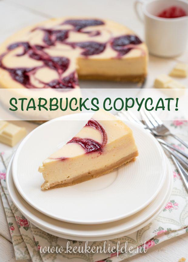 Na veel experimenteren en proeven (hè wat vervelend) kan ik dan eindelijk mijn Starbucks copycat witte-chocoladecheesecake met frambozensaus swirl met je