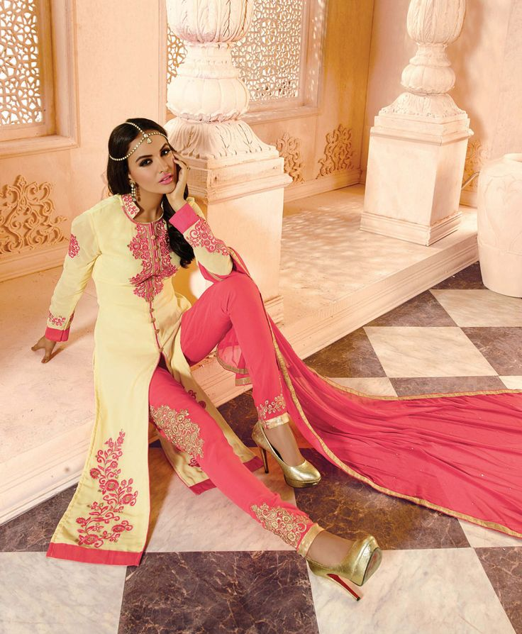 Cream Georgette Pakistani Style Suit 63470