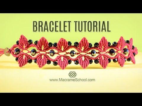 Leaf Bracelet with Swarovski Berries   TUTORIAL Macramé - YouTube