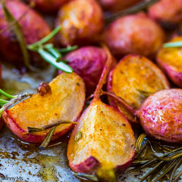 Roasted Spiced Radishes - Not a fan of radishes? You will be after trying this recipe. Roasted radishes have an entirely different taste once seasoned and roasted. Step outside the box, and try this delicious recipe. You'll be happy you did! #roastedveggies #easyrecipes #healthyrecipes
