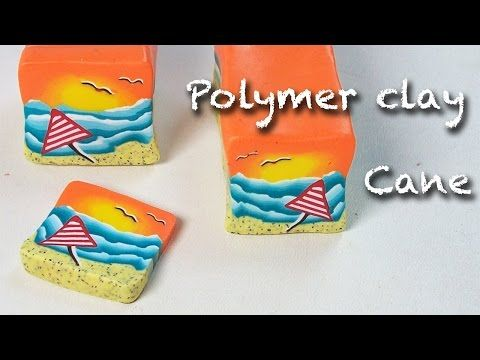 Diy, how to make seascape cane - polymer clay necklace tutorial - YouTube