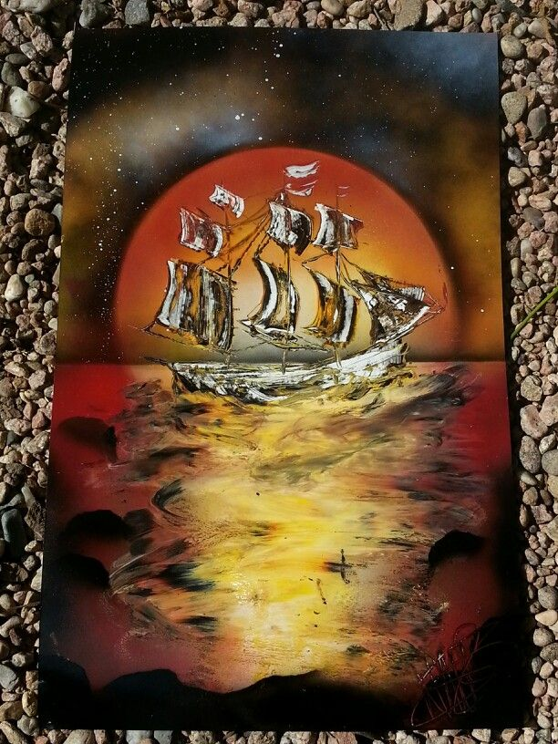 """Trouble in paradise"" ship sinking spray paint art by Nate Bockus"