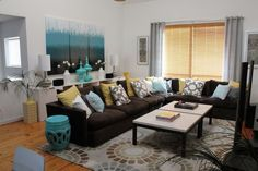 teal gray living room with brown leather couch - Google Search