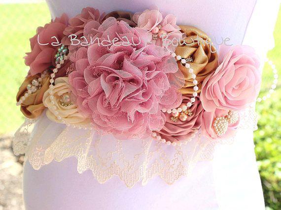 Faja maternidad niebla malva Chic vintage polvo marco rosa y