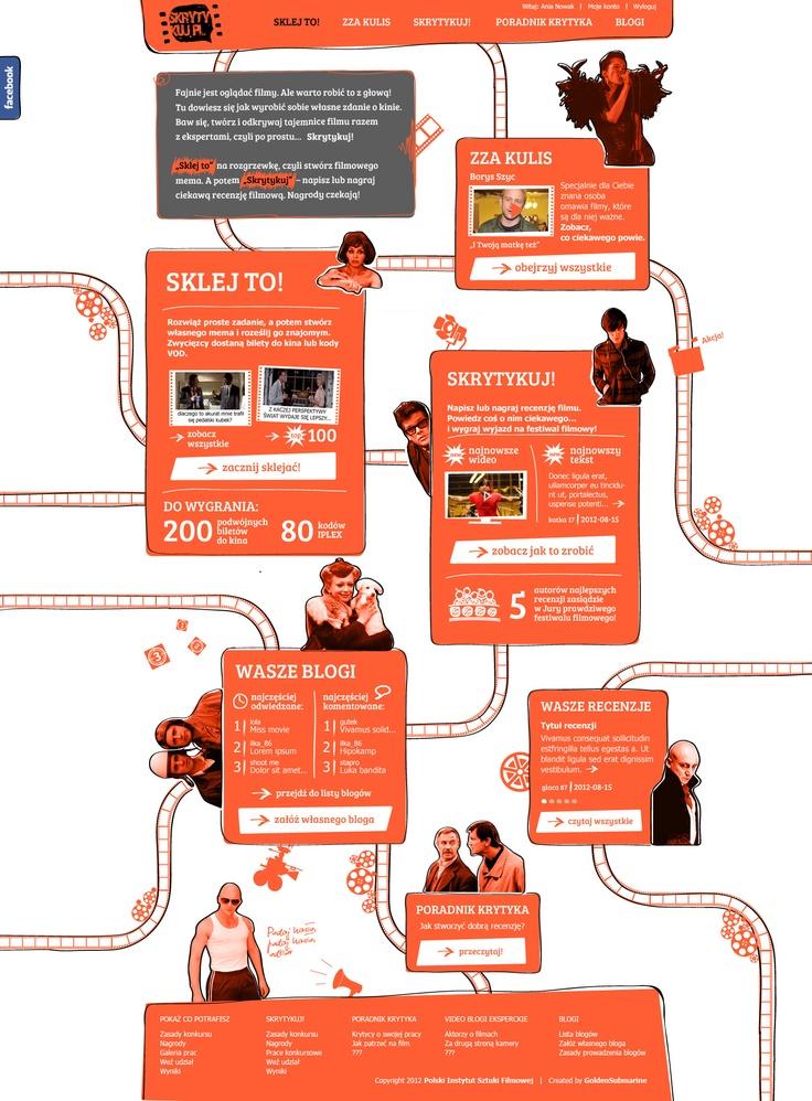 """PISF – www.skrytykuj.pl. Młodzi ludzie oglądają filmy, ale nie potrafią o nich krytycznie rozmawiać. Włączyliśmy się w kampanię społeczną """"Skrytykuj.pl"""" i stworzyliśmy komunikację wizualną kampanii, w tym logo, serwis www, banery promocyjne, a także aplikację na Facebooka """"Tester Smaku"""", badającą filmowy gust."""