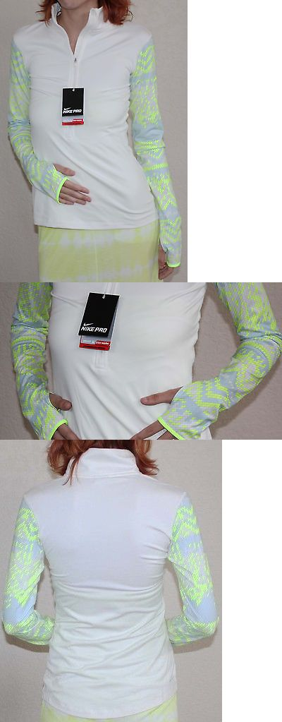 Shirts 59333: Nike Pro Hyperwarm Womens Nordic ½ Zip Cream/Volt/Blue Compression Shirt Sz S * -> BUY IT NOW ONLY: $62 on eBay!