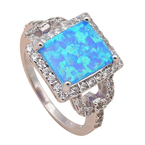 T-Jewelry Fashion Gorgeous Blue Fire Opal Jewelry Ring Si...