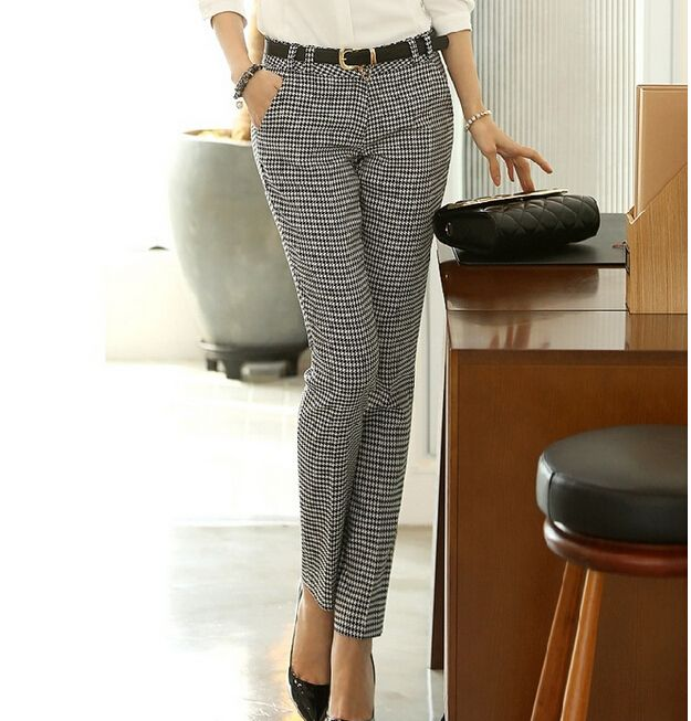 Korean New Fashion 2016 Spring Casual Trousers Slim Fitted Houndstooth Printed OL Cotton Pant Women Pants With Belt S M L XL XXL-in Pants & Capris from Women's Clothing & Accessories on Aliexpress.com | Alibaba Group