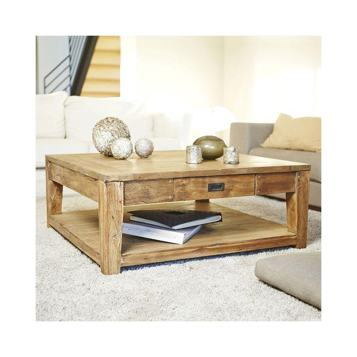 Garden And Co Table Basse Carr E Teck Recycle Cm Naturel Pas Cher