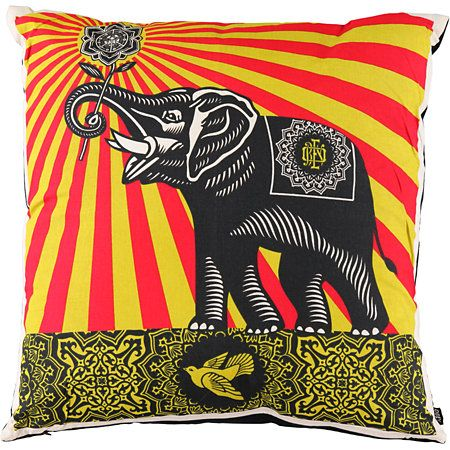 The Obey Peace Elephant throw pillow will add some nobility to your living room, bedroom, or anywhere else with an Obey elephant graphic. This brightly colored pillow features a decorated Obey elephant holding a flower with sun rays beaming from it,  all