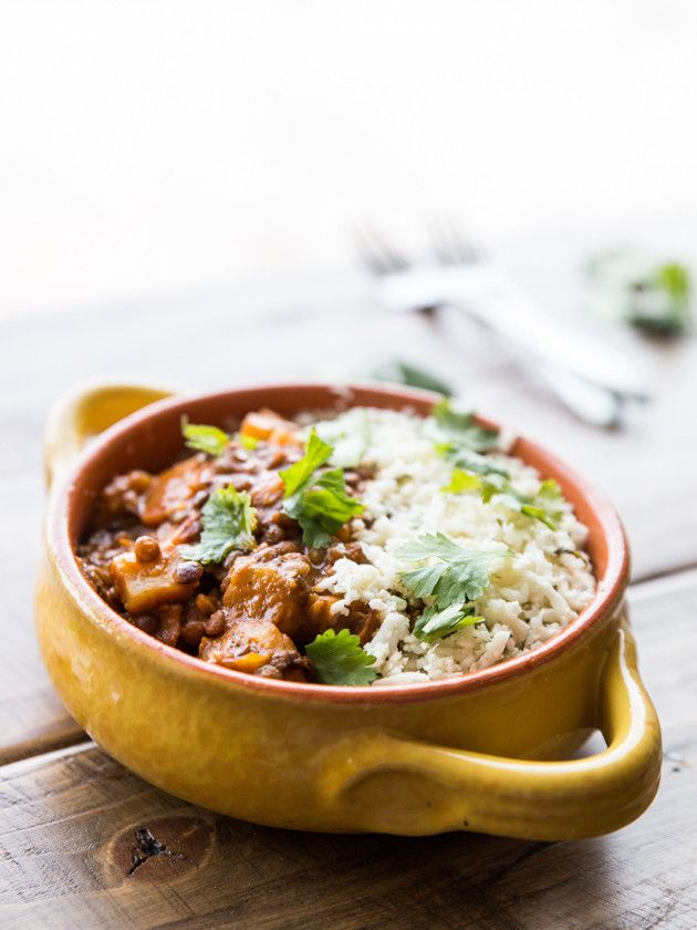 Winter Vegetable and Lentil Red Curry with Cilantro Lime Cauliflower Rice