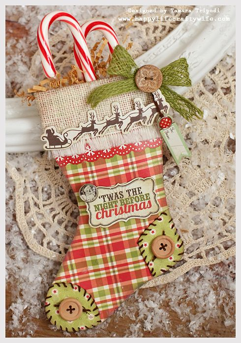 This and That Christmas stocking treat bag - www.happylifecraftywife.com; free PDF