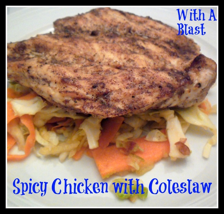 Spicy Chicken with Apple Coleslaw ----- Healthy & Low-Fat!