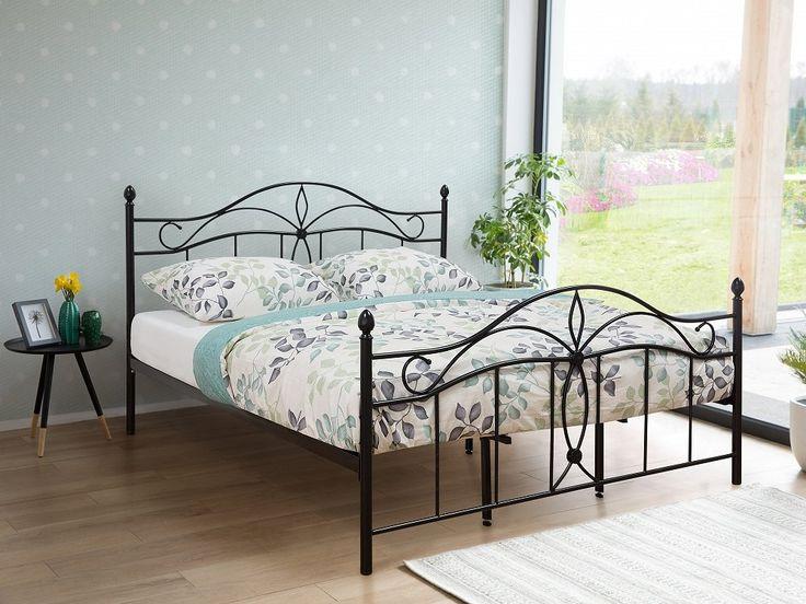 Black Metal Bed - Super King Size Bed Frame - 180x200 cm ANTLIA | Follow Beliani UK for more romantic bedroom inspirations! #metalbed