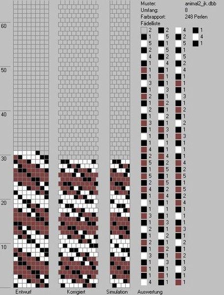 БИСЕР СХЕМЫ, для вязания крючком на леске, Как читать схемы: в правом верхнем углу – это указание, на скольких бусинах жгут. Цифра 32 – количество бусин в раппорте. Набираем бусины: квадрат означает цвет, цифра- количество бусин
