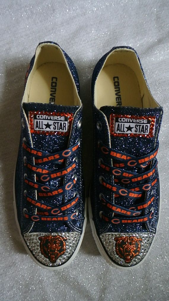 Cute, but not for me!! @Kimberly Bennett  Chicago Bears Custom Converse by JCorreaCreations on Etsy, $130.00