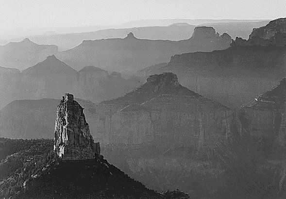 View with rock formation in foreground, Grand Canyon National Park, Arizona - Ansel Adams