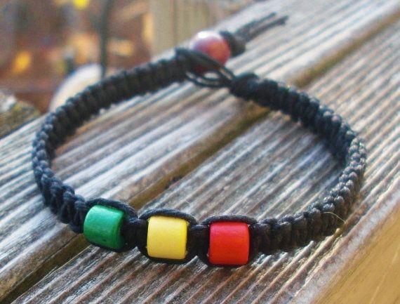 Men's Rasta Hemp Bracelet Macrame Jewelry by JackZenHemp on Etsy, $8.50