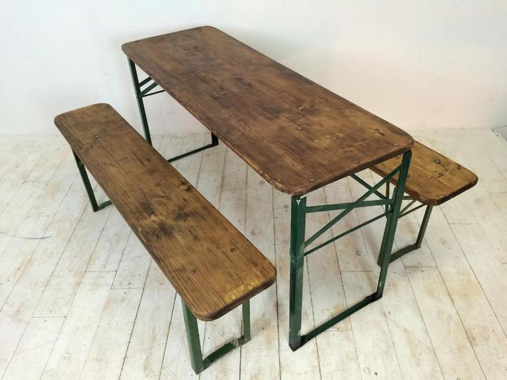 VINTAGE INDUSTRIAL GERMAN BEER TABLE BENCH SET GARDEN CUSTOMISED LENGTH | Antiques, Antique Furniture, Benches/Stools | eBay!