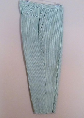 Mens size 36x30 Jos. A Banks green and white stripe seersucker golf pants 847