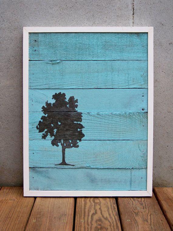 Récupération de peinture bois arbre brun et Turquoise