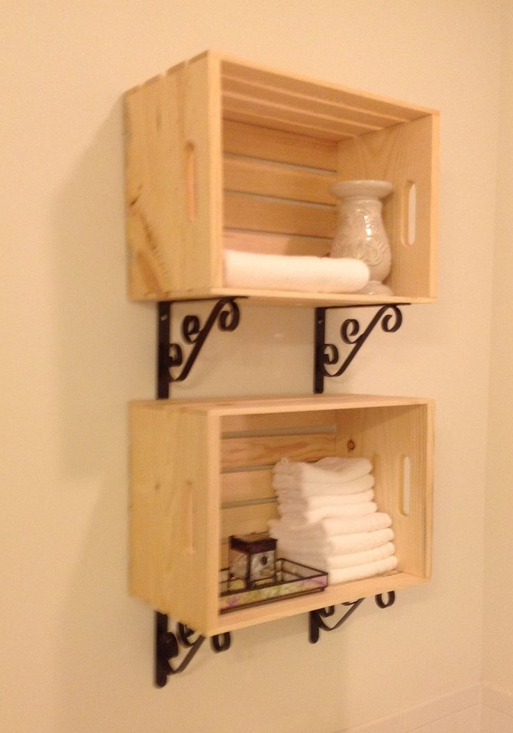 Crate #Shelves #for #towels #with #pretty #brackets.   – Bad