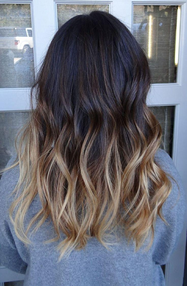 Шатуш на тёмные средние волосы