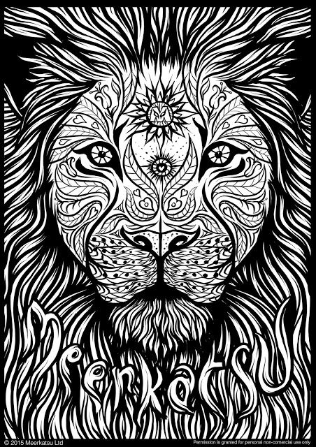 Meerkatsu Art Lion Colouring Page Zentangles Adult