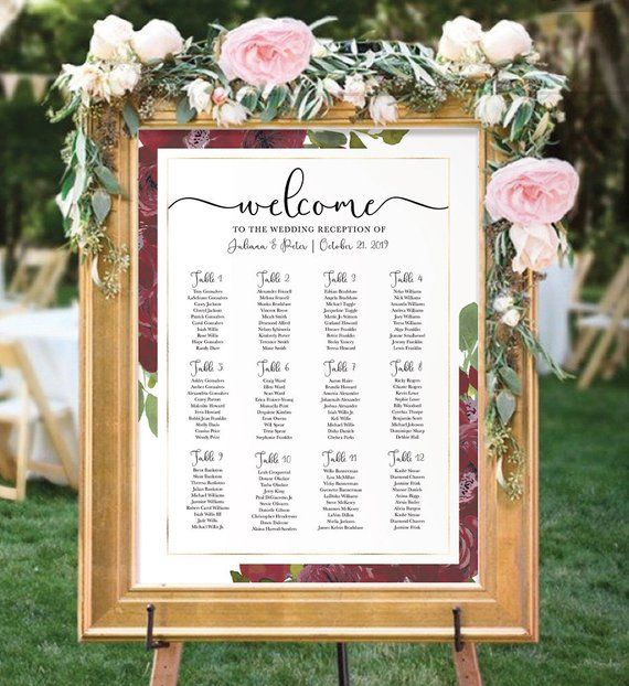 Wedding Seating Chart Printable Burgundy Table Plan Floral Etsy In 2020 Seating Chart Wedding Template Seating Plan Wedding Seating Chart Wedding