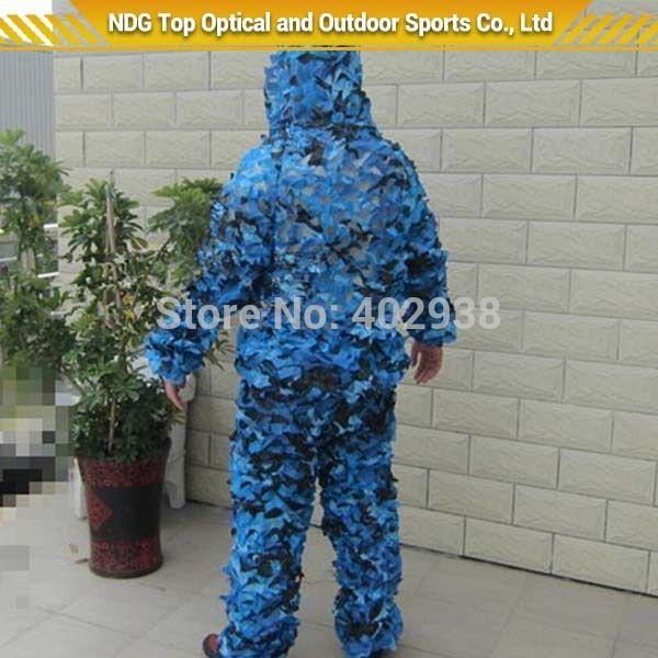 Океан камуфляж сеть маскировочный костюм чистая ткань камо костюм снайпер пейнтбол охота маскировочный костюм тактический синий камо-джерси костюмы