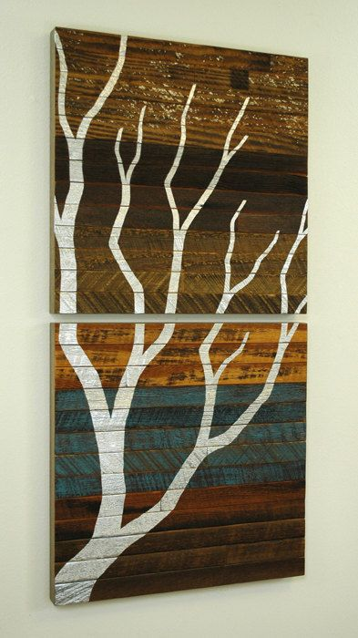 Original wall art made from reclaimed wood....really like the color pallet used.