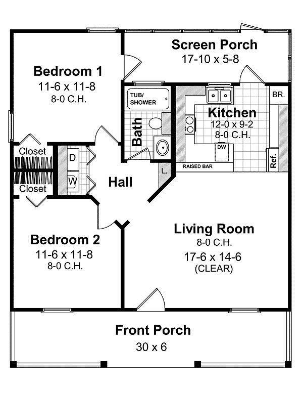 First Floor Plan of 1 bathroom-2 bedroom    Country Farmhouse  House Plan 59098 with screened in porch on back!