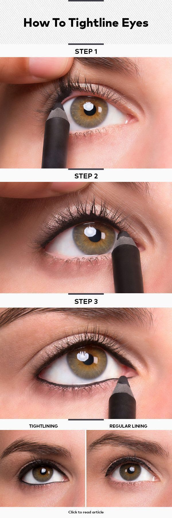 How to do a great conservatively lined eye along the waterline.  Accented by using a glittery pink-vanilla shadow.