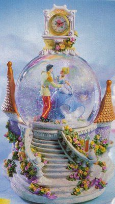 Reality to dreams I would love this for Christmas (Disney Cinderella Clock Snowglobe)