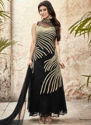 Black Embroidery Sequins Work Stone Work Georgette Designer Salwar Kameez http://www.angelnx.com/Salwar-Kameez/Anarkali-Suits