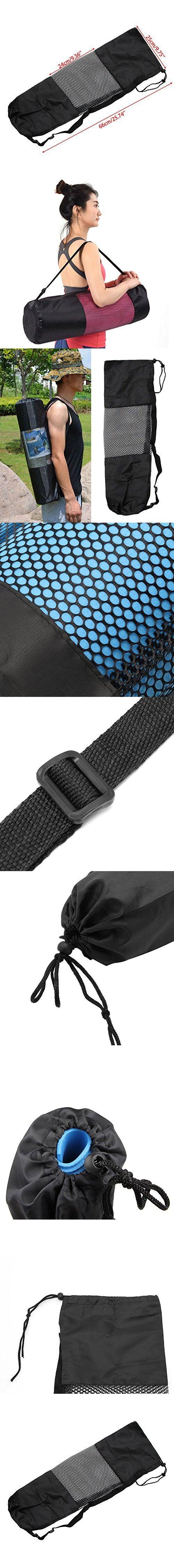 Tangc Adjustable Strap Nylon Mat Bag Carrier Mesh For Yoga Gym Fitness Exercise Sports