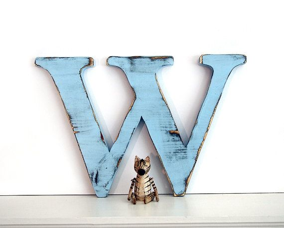 Wooden Letter W Pictured in Soft Blue Pine Wood by ThePineNuts, $32.00