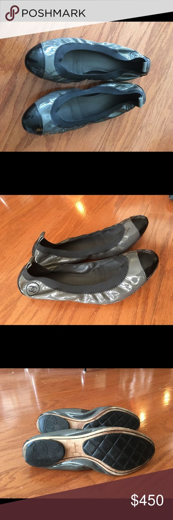 chanel grey black patent leather flats chanel grey black patent leather flats sold