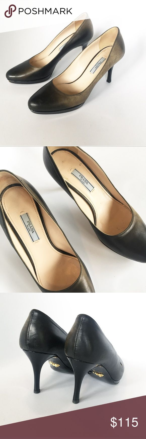 Prada hombre heels. Size 37 Prada hombre heels. Size 37. Brownish black and green. Photos show accurate color. Soft leather. Prada Shoes Heels