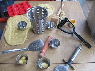 Playdough with kitchen utensils - I always struggle with what to provide in the playdough area. This was a fantastic idea.