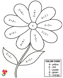 Lots and lots of addition worksheets, including color by