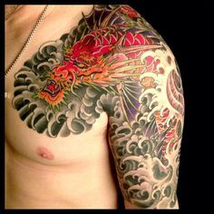 Awesome Japanese dragon half sleeve // chest piece // Mike Rubendall tattoos