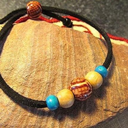 Wooden beaded bracelet leather bracelet boho bracelet vegan hippie bracelet natural wooden bead gift.