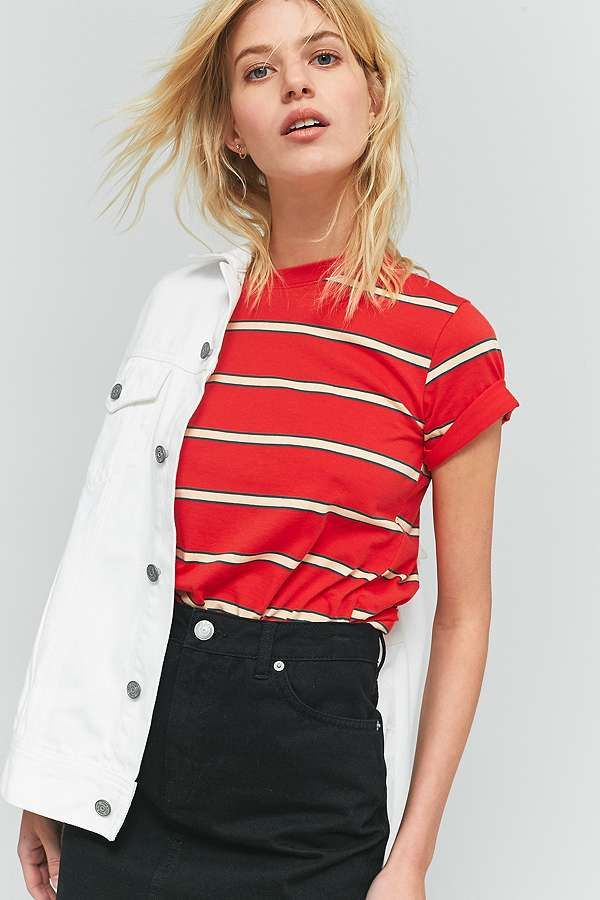 BDG Red Striped Washed T-Shirt – Urban Outfitters.