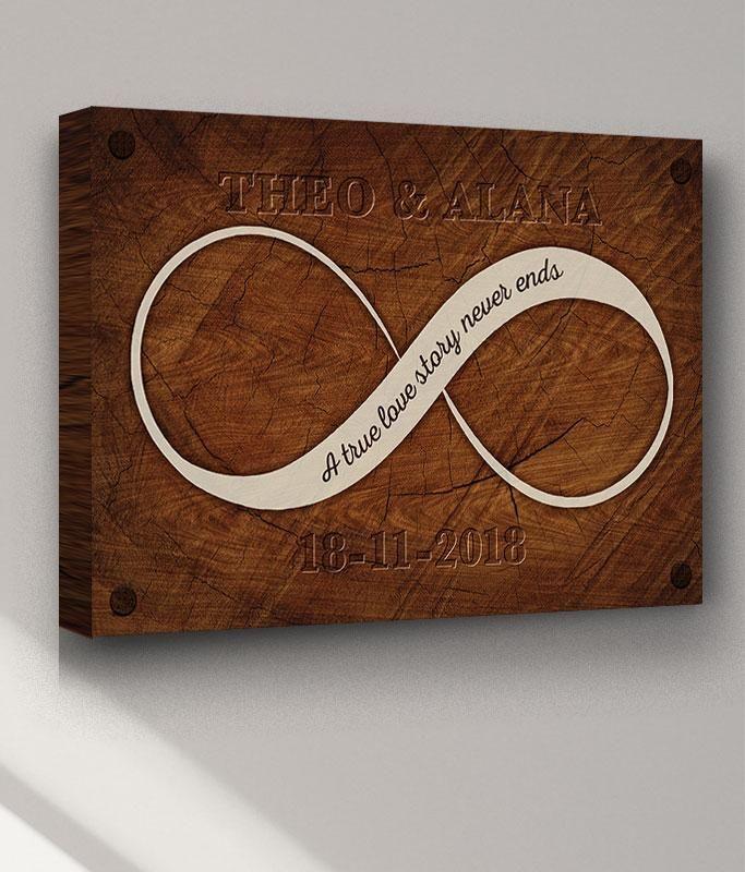 Carved Wood Infinity Loop Personalised Wedding