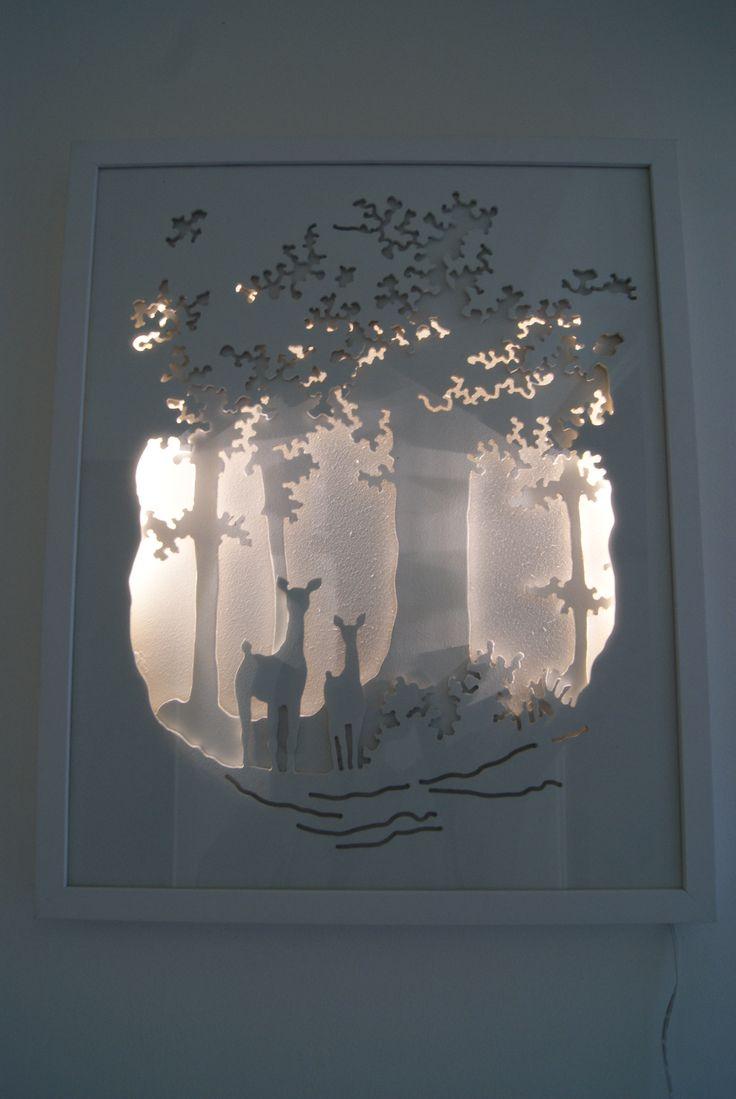 """"""" Le sous-bois """" est un tableau lumineux en trois dimensions où ombres et lumières nous font pénétrer dans un monde onirique. Dimensions: 40*50 cm Plus de détails sur mon site internet: http://peintredecors.com/  """" The undergrowth """" is a bright picture(board) in three dimensions(size) where shadows and lights make us penetrate into a dreamlike world. Dimensions(Size): 40*50 cms More details on my web site: http://peintredecors.com/"""