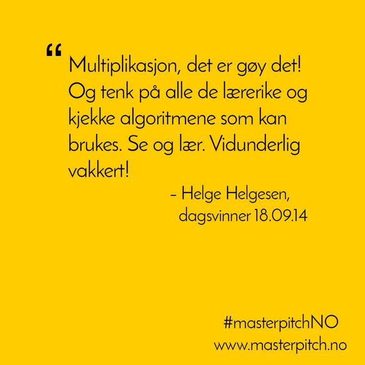 #dagenspitch fra Helge Helgesen 18.09. Gratulerer!