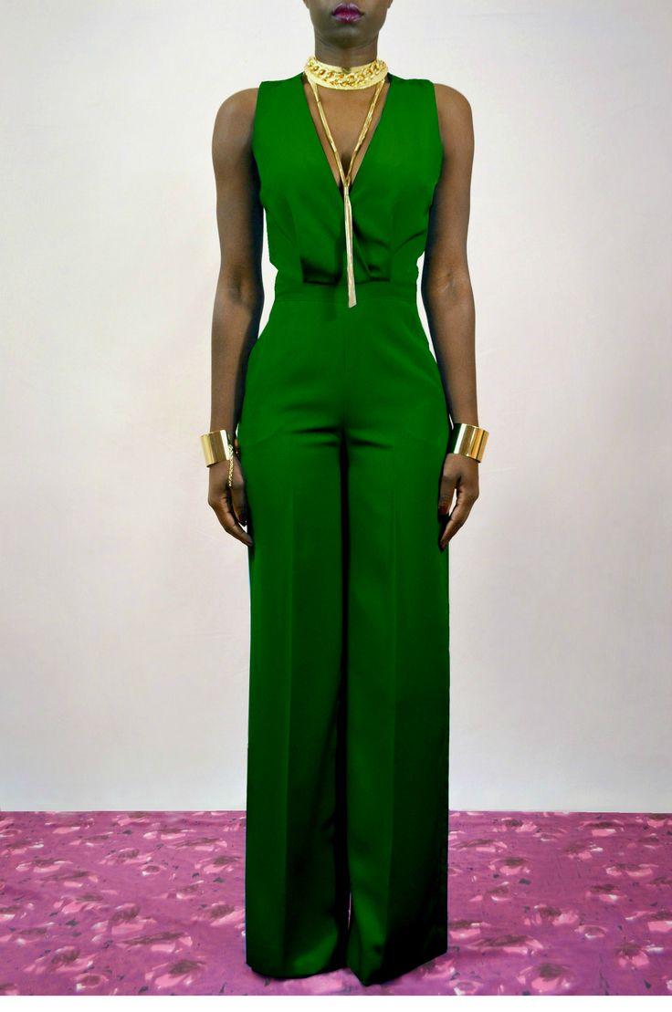 Emerald Green Cross Back Wide Leg #Jumpsuit