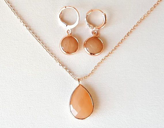 Bridesmaid gift peach necklace bridesmaid necklace earrings