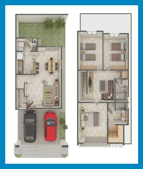 Planos de Casas y Plantas Arquitectónicas de Casas y Departamentos: dos plantas